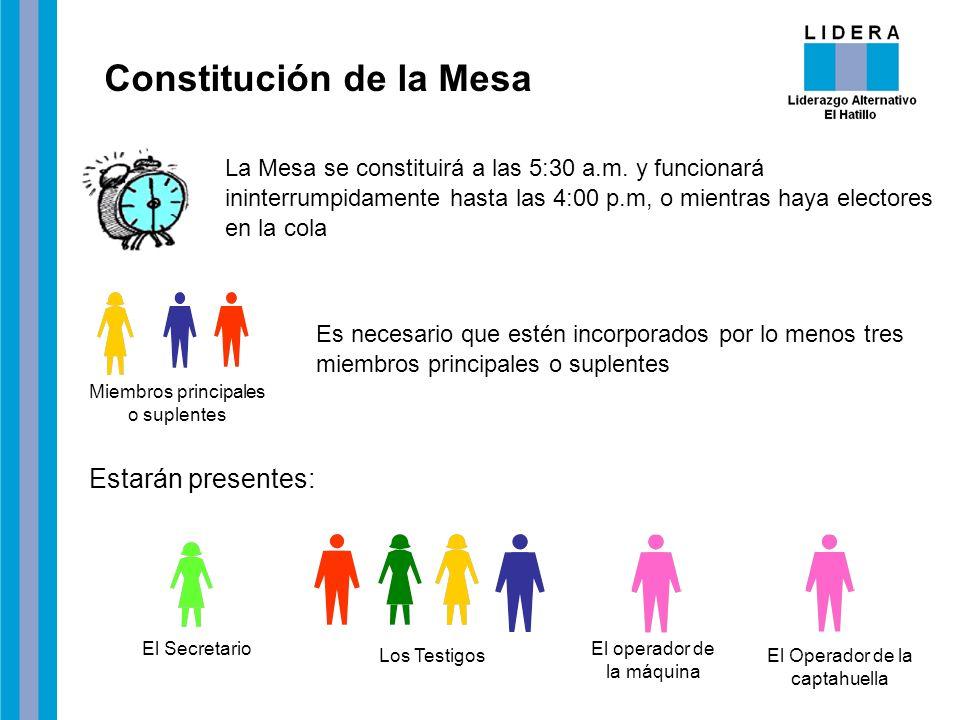 Constitución de la Mesa La Mesa se constituirá a las 5:30 a.m. y funcionará ininterrumpidamente hasta las 4:00 p.m, o mientras haya electores en la co