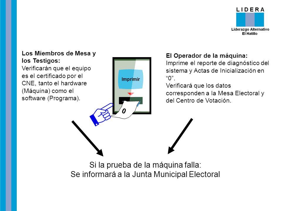 Imprimir 0 Si la prueba de la máquina falla: Se informará a la Junta Municipal Electoral Los Miembros de Mesa y los Testigos: Verificarán que el equip