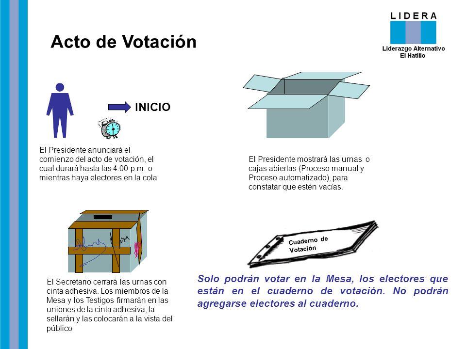 Acto de Votación El Presidente anunciará el comienzo del acto de votación, el cual durará hasta las 4:00 p.m. o mientras haya electores en la cola INI