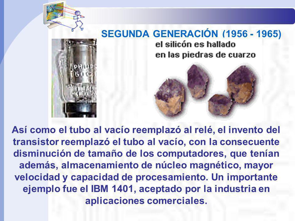 SEGUNDA GENERACIÓN (1956 - 1965) Así como el tubo al vacío reemplazó al relé, el invento del transistor reemplazó el tubo al vacío, con la consecuente