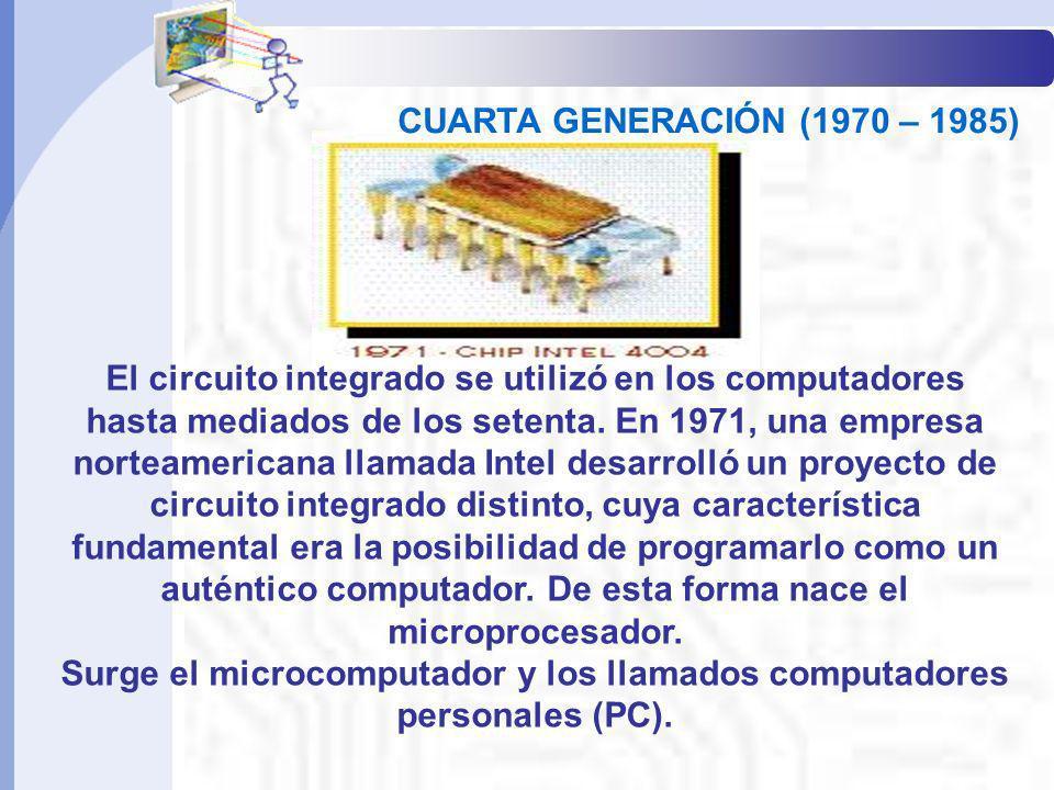 El circuito integrado se utilizó en los computadores hasta mediados de los setenta. En 1971, una empresa norteamericana llamada Intel desarrolló un pr