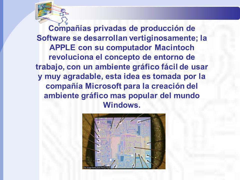 Compañías privadas de producción de Software se desarrollan vertiginosamente; la APPLE con su computador Macintoch revoluciona el concepto de entorno
