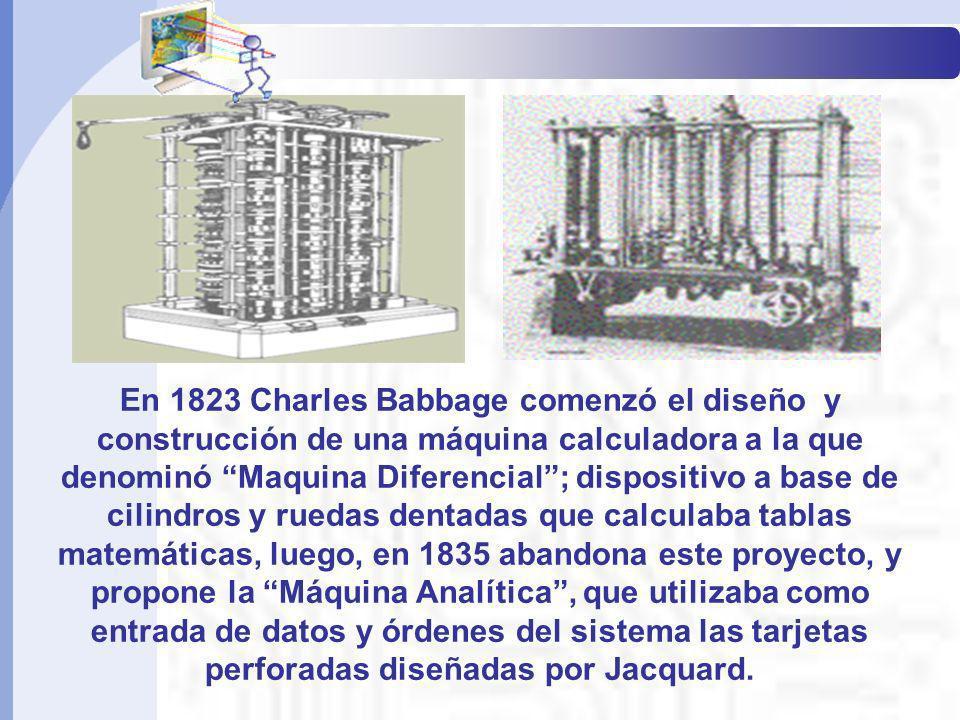 En 1823 Charles Babbage comenzó el diseño y construcción de una máquina calculadora a la que denominó Maquina Diferencial; dispositivo a base de cilin