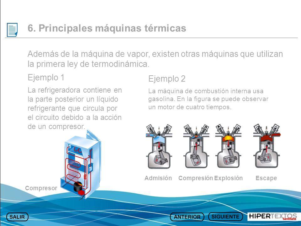 6. Principales máquinas térmicas Además de la máquina de vapor, existen otras máquinas que utilizan la primera ley de termodinámica. Ejemplo 1 La refr