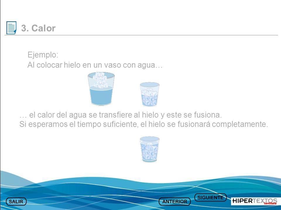 Ejemplo: Al colocar hielo en un vaso con agua… … el calor del agua se transfiere al hielo y este se fusiona. Si esperamos el tiempo suficiente, el hie