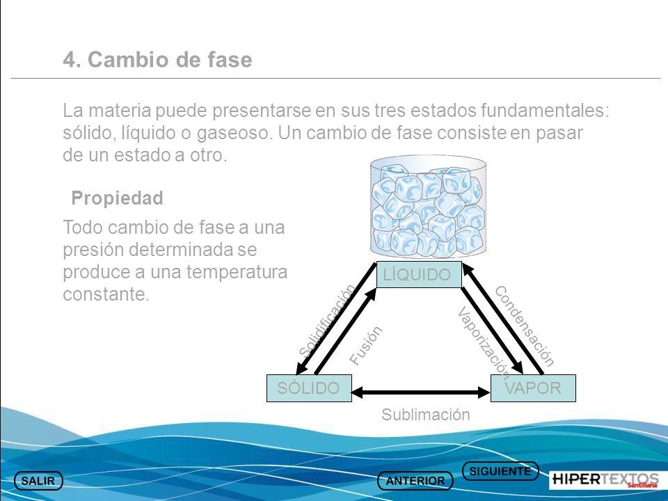 4. Cambio de fase La materia puede presentarse en sus tres estados fundamentales: sólido, líquido o gaseoso. Un cambio de fase consiste en pasar de un