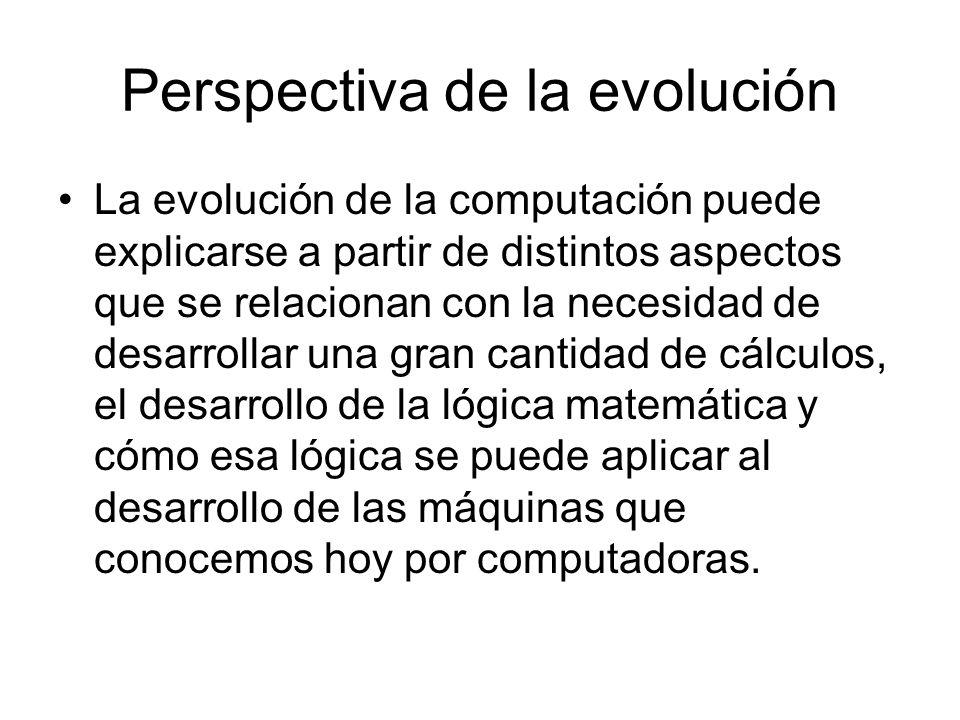 Análisis de la evolución de la computación Desarrlollo de las máquinas de cálculo Necesidad de efectuar cálculos rápidamente debido a la espansión del comercio Desarrlollo de la lógica matemática