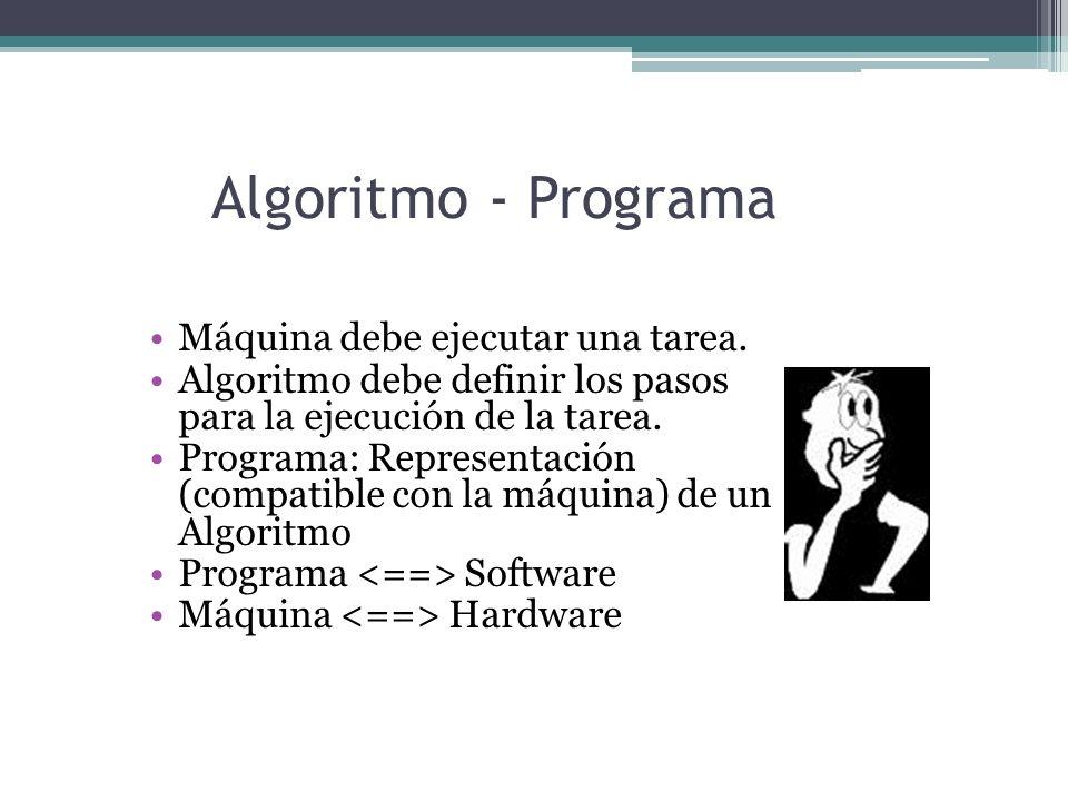 Algoritmo - Programa Máquina debe ejecutar una tarea. Algoritmo debe definir los pasos para la ejecución de la tarea. Programa: Representación (compat