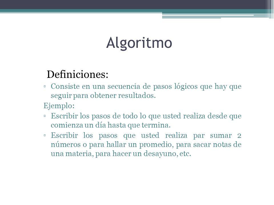 Algoritmo Definiciones: Consiste en una secuencia de pasos lógicos que hay que seguir para obtener resultados. Ejemplo: Escribir los pasos de todo lo