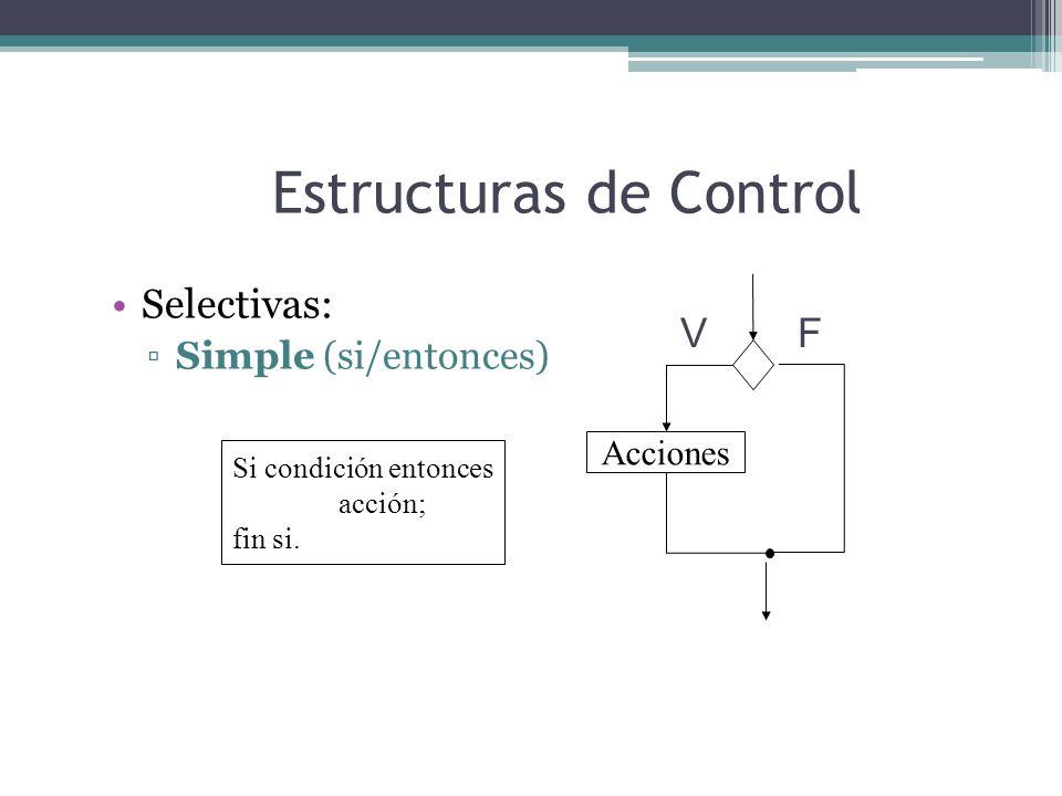 Estructuras de Control Selectivas: Simple (si/entonces) Si condición entonces acción; fin si. Acciones VF