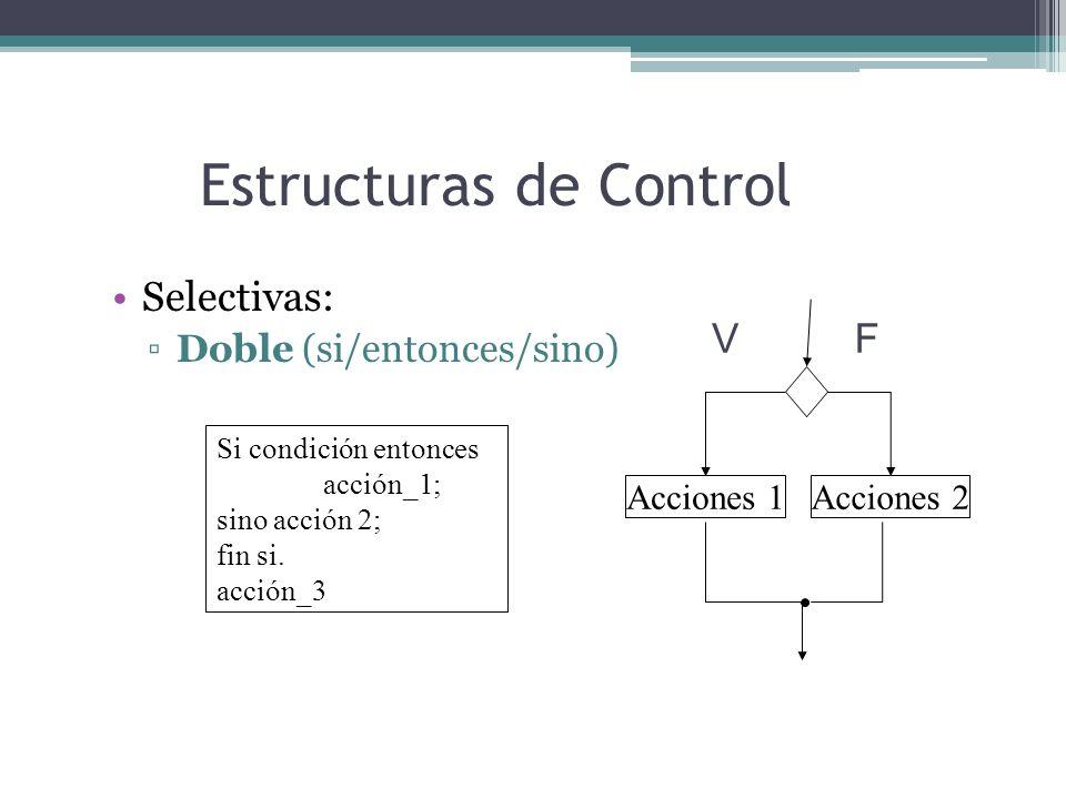 Estructuras de Control Selectivas: Doble (si/entonces/sino) Si condición entonces acción_1; sino acción 2; fin si. acción_3 Acciones 1 VF Acciones 2
