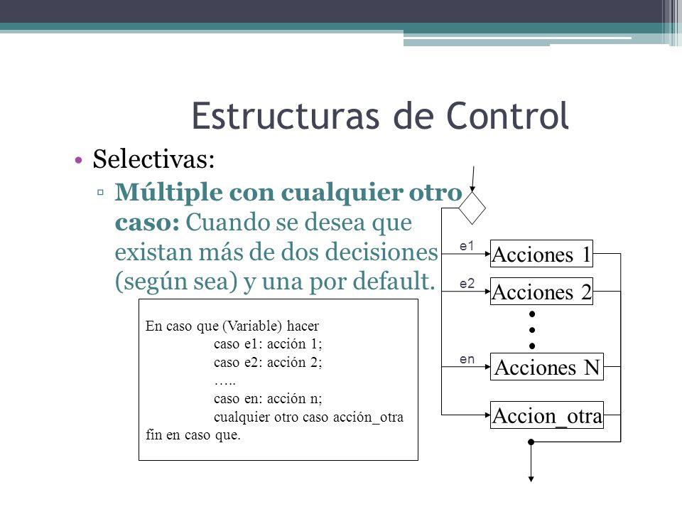 Estructuras de Control Selectivas: Múltiple con cualquier otro caso: Cuando se desea que existan más de dos decisiones (según sea) y una por default.