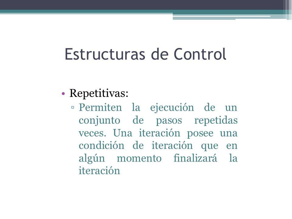 Estructuras de Control Repetitivas: Permiten la ejecución de un conjunto de pasos repetidas veces. Una iteración posee una condición de iteración que