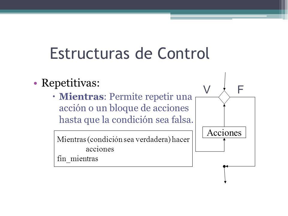 Estructuras de Control Repetitivas: Mientras: Permite repetir una acción o un bloque de acciones hasta que la condición sea falsa. Mientras (condición