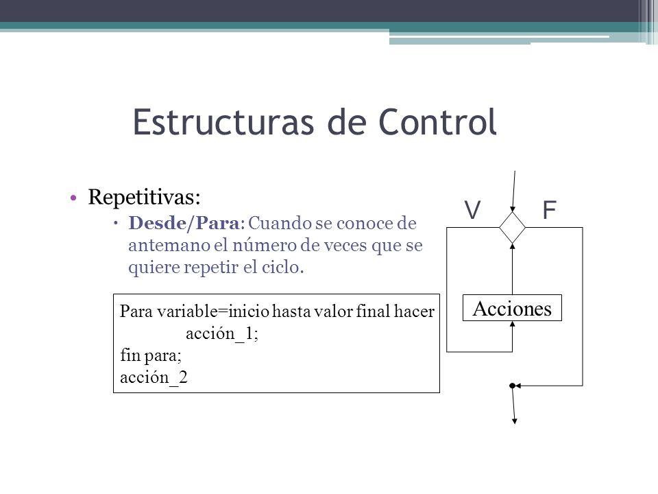 Estructuras de Control Repetitivas: Desde/Para: Cuando se conoce de antemano el número de veces que se quiere repetir el ciclo. Para variable=inicio h