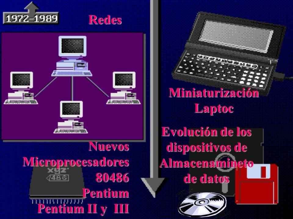 AparecenAparecen microcomputadores y los Ordenadores de uso personal, personal, llamados así por llevar en su interior un microprocesador (chip). Equi