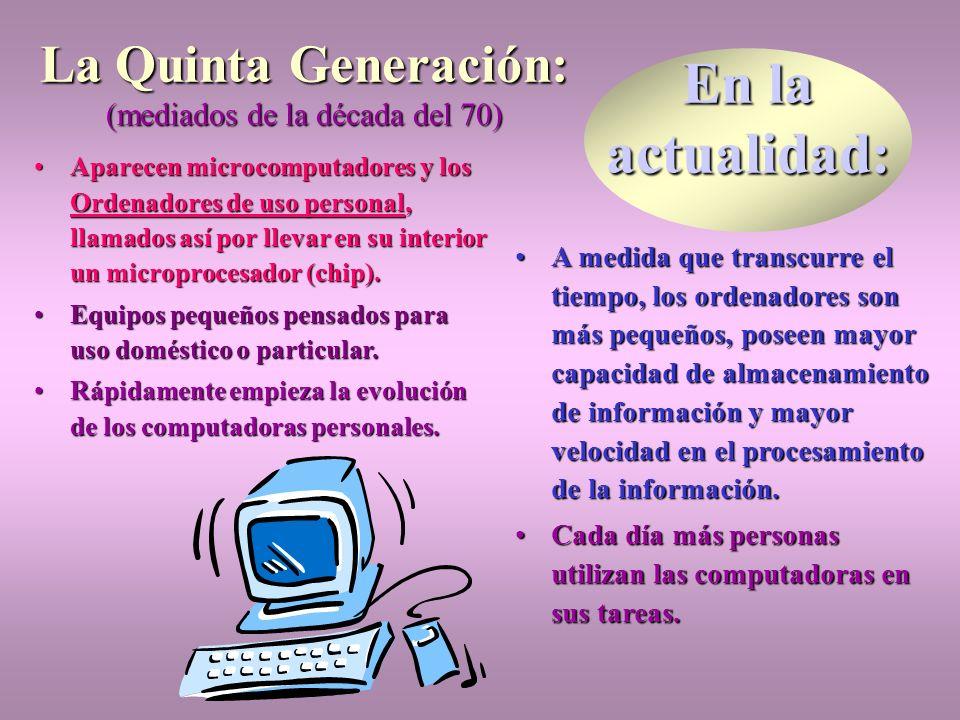 continúa... La Tercera Generación: (principios de la década del 60) ElEl transistor es sustituido por los circuitos integrados. Pequeñas placas llamad