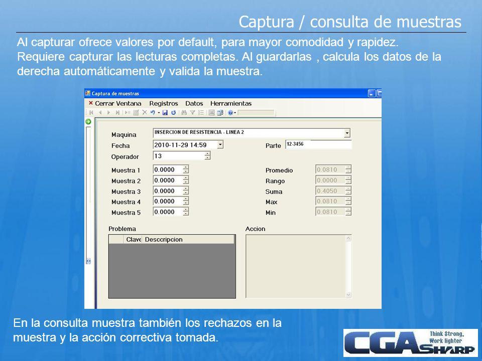 Captura / consulta de muestras Al capturar ofrece valores por default, para mayor comodidad y rapidez. Requiere capturar las lecturas completas. Al gu