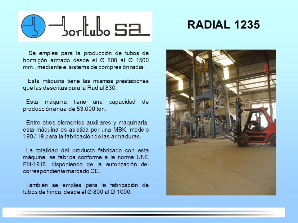 RADIAL 1235 Se emplea para la producción de tubos de hormigón armado desde el Ø 800 al Ø 1500 mm., mediante el sistema de compresión radial Esta máqui