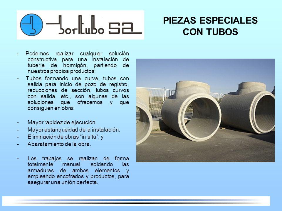 PIEZAS ESPECIALES CON TUBOS - Podemos realizar cualquier solución constructiva para una instalación de tubería de hormigón, partiendo de nuestros prop