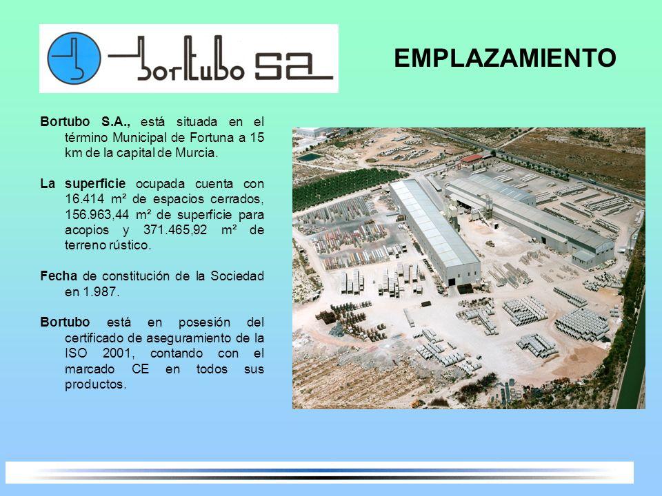 Bortubo S.A., está situada en el término Municipal de Fortuna a 15 km de la capital de Murcia. La superficie ocupada cuenta con 16.414 m² de espacios