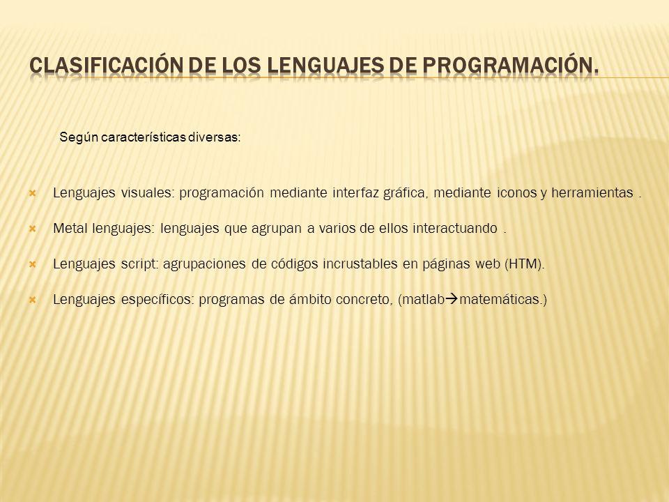 Lenguajes visuales: programación mediante interfaz gráfica, mediante iconos y herramientas.