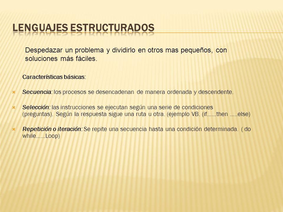 Características básicas: Secuencia: los procesos se desencadenan de manera ordenada y descendente.