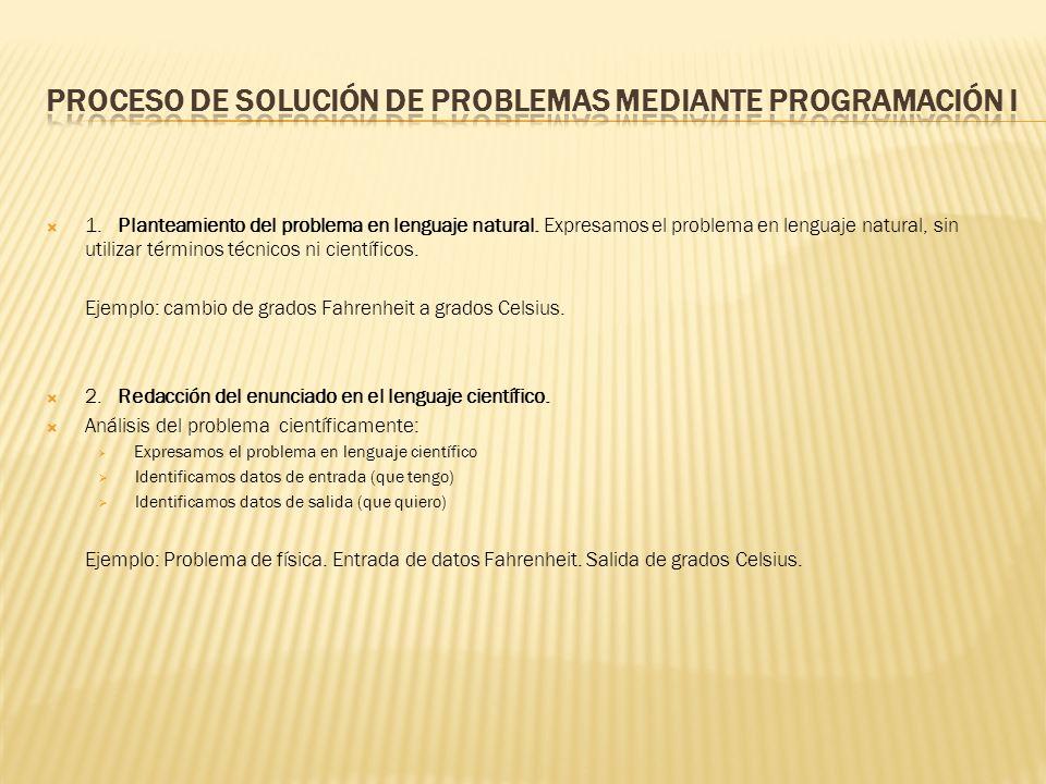 1.Planteamiento del problema en lenguaje natural.