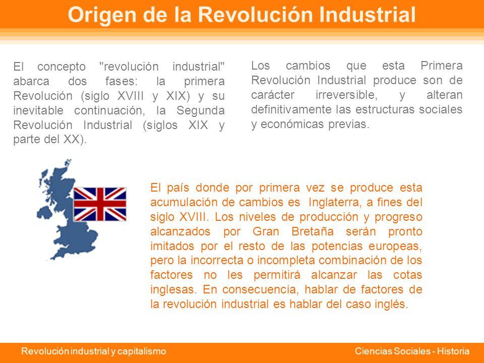 Revolución industrial y capitalismo Ciencias Sociales - Historia Revolución Industrial La Revolución Industrial es el proceso de evolución que conduce