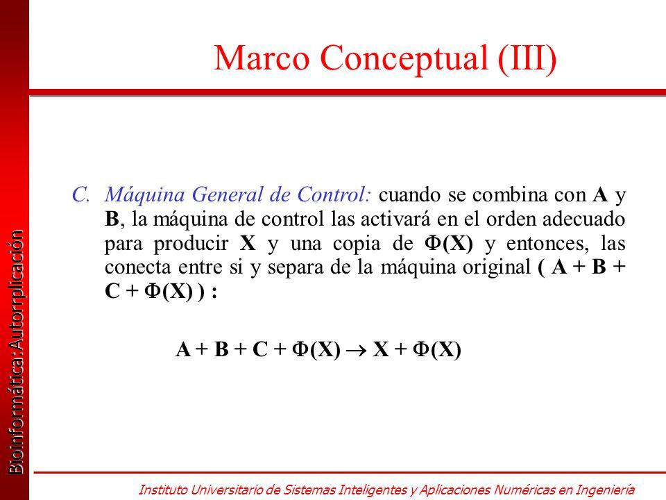 Bioinformática:Autorrplicación Bioinformática:Autorrplicación Instituto Universitario de Sistemas Inteligentes y Aplicaciones Numéricas en Ingeniería Marco Conceptual (III) C.Máquina General de Control: cuando se combina con A y B, la máquina de control las activará en el orden adecuado para producir X y una copia de (X) y entonces, las conecta entre si y separa de la máquina original ( A + B + C + (X) ) : A + B + C + (X) X + (X)