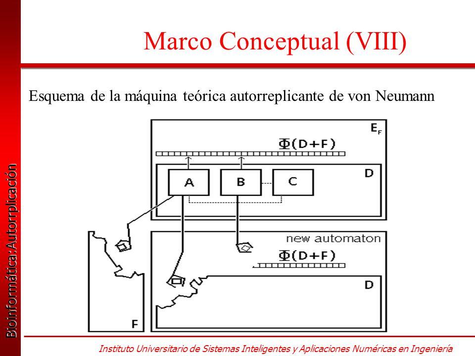 Bioinformática:Autorrplicación Bioinformática:Autorrplicación Instituto Universitario de Sistemas Inteligentes y Aplicaciones Numéricas en Ingeniería Marco Conceptual (VIII) Esquema de la máquina teórica autorreplicante de von Neumann