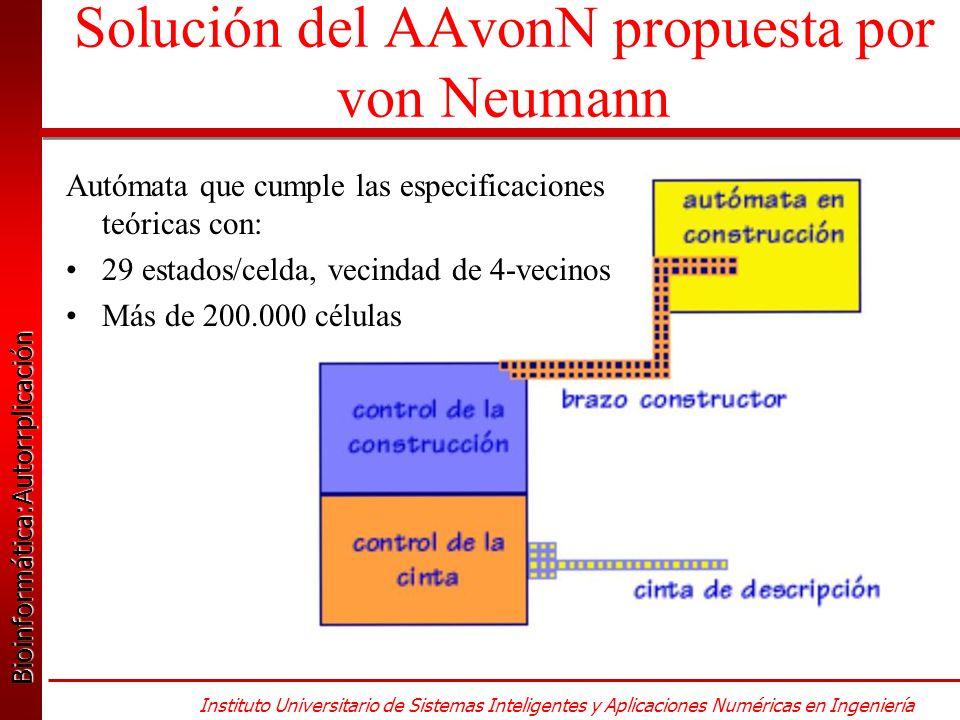 Bioinformática:Autorrplicación Bioinformática:Autorrplicación Instituto Universitario de Sistemas Inteligentes y Aplicaciones Numéricas en Ingeniería Solución del AAvonN propuesta por von Neumann Autómata que cumple las especificaciones teóricas con: 29 estados/celda, vecindad de 4-vecinos Más de 200.000 células