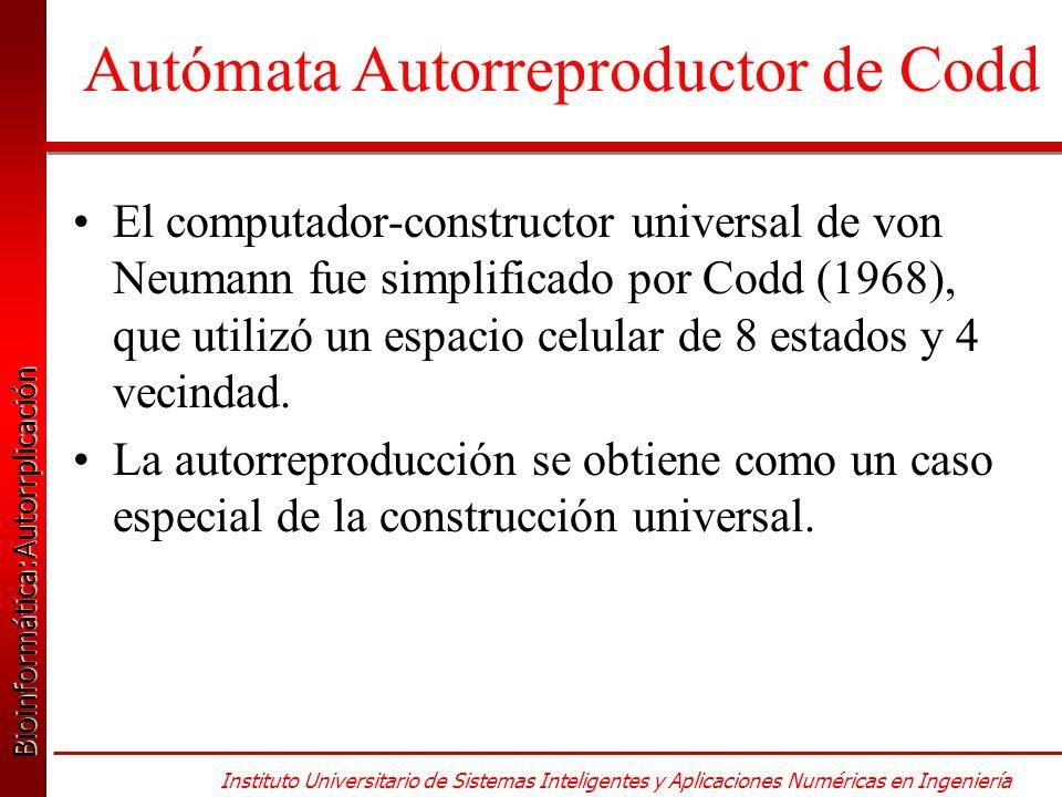 Bioinformática:Autorrplicación Bioinformática:Autorrplicación Instituto Universitario de Sistemas Inteligentes y Aplicaciones Numéricas en Ingeniería El computador-constructor universal de von Neumann fue simplificado por Codd (1968), que utilizó un espacio celular de 8 estados y 4 vecindad.