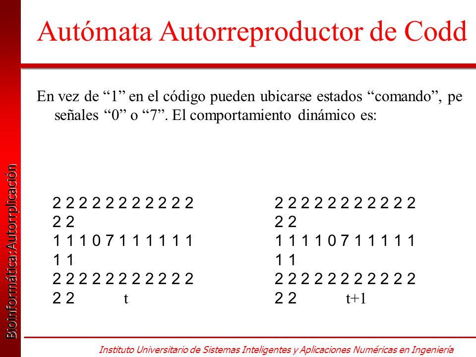 Bioinformática:Autorrplicación Bioinformática:Autorrplicación Instituto Universitario de Sistemas Inteligentes y Aplicaciones Numéricas en Ingeniería En vez de 1 en el código pueden ubicarse estados comando, pe señales 0 o 7.