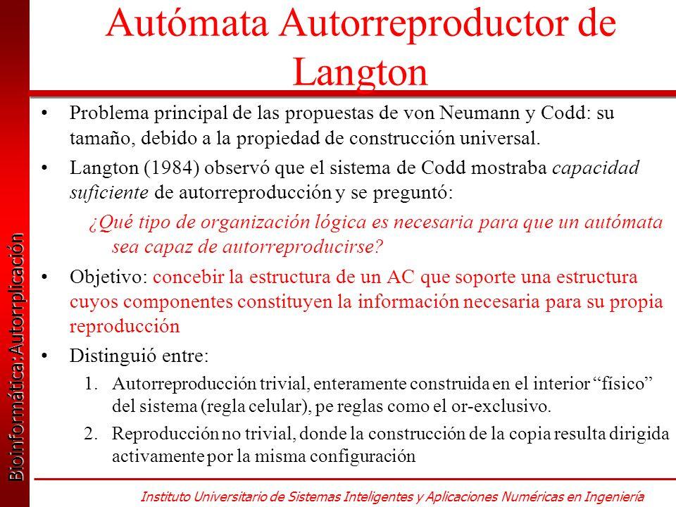 Bioinformática:Autorrplicación Bioinformática:Autorrplicación Instituto Universitario de Sistemas Inteligentes y Aplicaciones Numéricas en Ingeniería Autómata Autorreproductor de Langton Problema principal de las propuestas de von Neumann y Codd: su tamaño, debido a la propiedad de construcción universal.