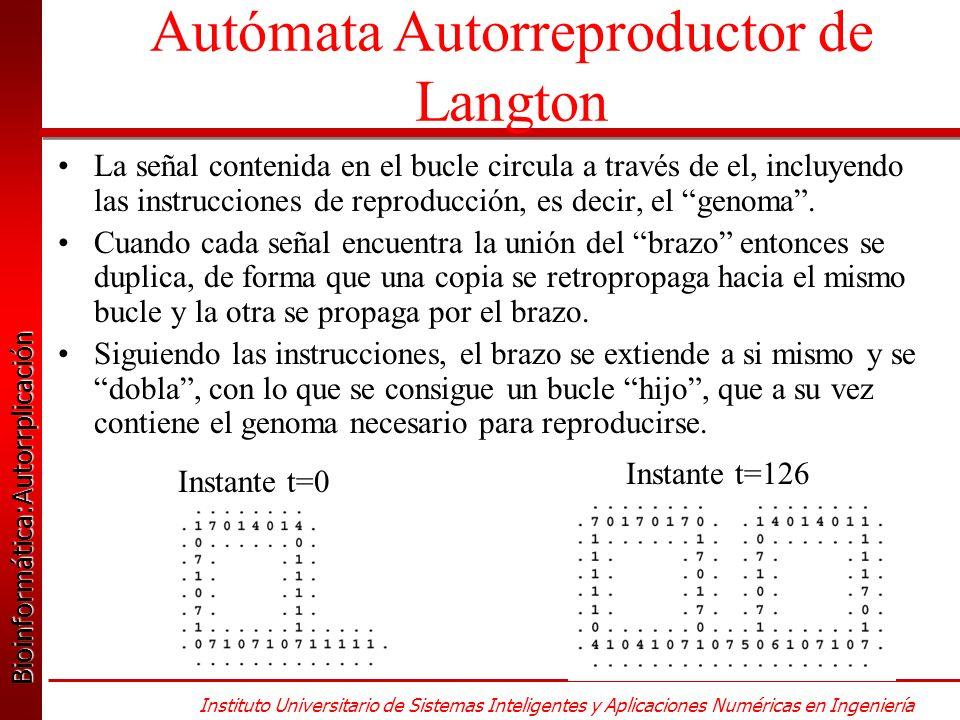 Bioinformática:Autorrplicación Bioinformática:Autorrplicación Instituto Universitario de Sistemas Inteligentes y Aplicaciones Numéricas en Ingeniería La señal contenida en el bucle circula a través de el, incluyendo las instrucciones de reproducción, es decir, el genoma.