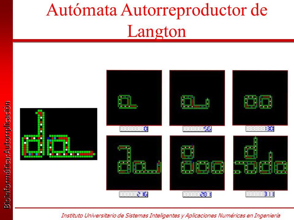 Bioinformática:Autorrplicación Bioinformática:Autorrplicación Instituto Universitario de Sistemas Inteligentes y Aplicaciones Numéricas en Ingeniería Autómata Autorreproductor de Langton