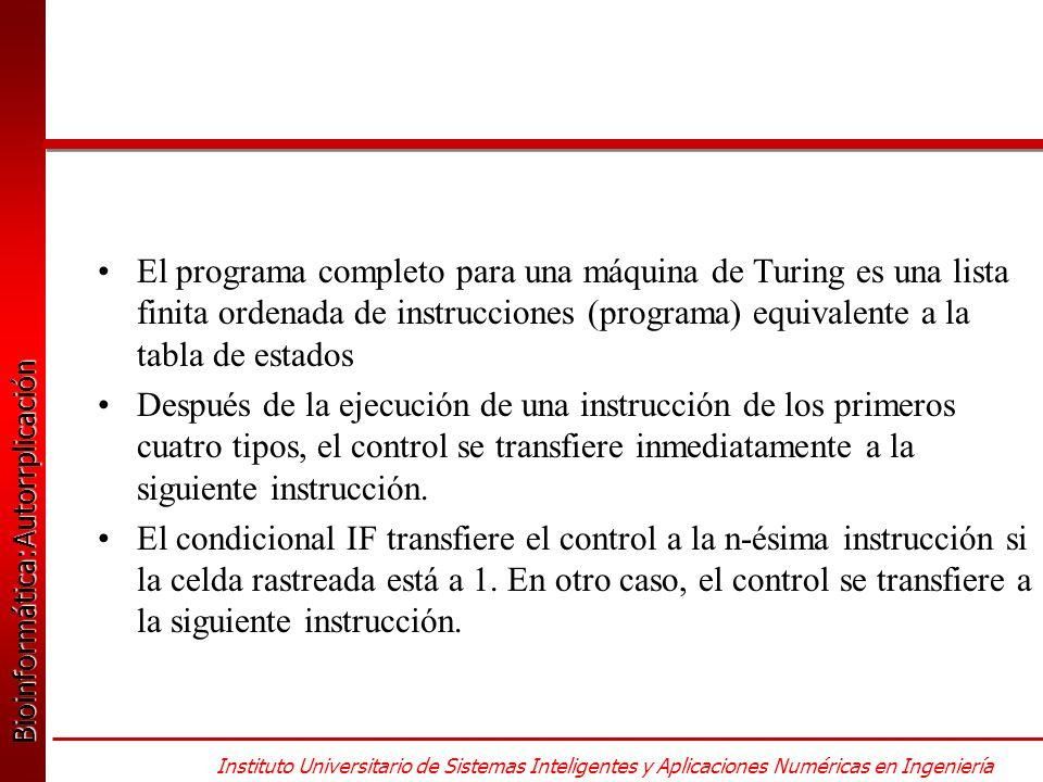 Bioinformática:Autorrplicación Bioinformática:Autorrplicación Instituto Universitario de Sistemas Inteligentes y Aplicaciones Numéricas en Ingeniería El programa completo para una máquina de Turing es una lista finita ordenada de instrucciones (programa) equivalente a la tabla de estados Después de la ejecución de una instrucción de los primeros cuatro tipos, el control se transfiere inmediatamente a la siguiente instrucción.