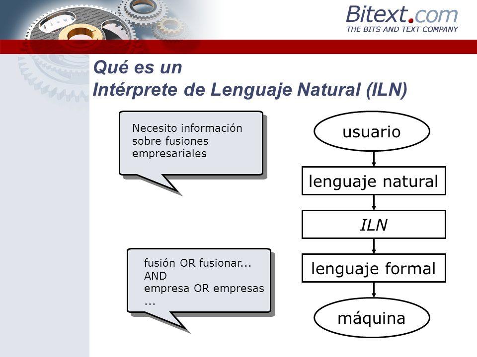 Qué es un Intérprete de Lenguaje Natural (ILN) Un ILN (Intérprete de Lenguaje Natural) es una aplicación que hace la interacción hombre-máquina intuitiva y productiva Cómo: conviertiendo el lenguaje natural, el del usuario, en un lenguaje formal, comprensible para la máquina