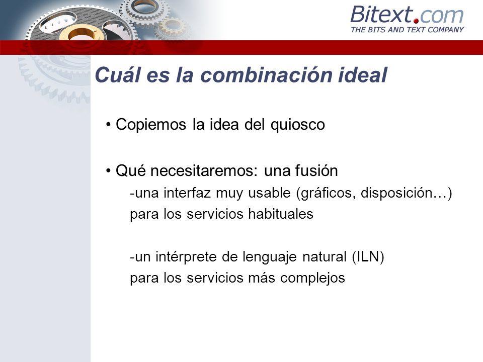 Cuál es la combinación ideal Copiemos la idea del quiosco Qué necesitaremos: una fusión -una interfaz muy usable (gráficos, disposición…) para los ser