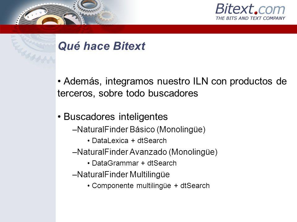 Qué hace Bitext Además, integramos nuestro ILN con productos de terceros, sobre todo buscadores Buscadores inteligentes –NaturalFinder Básico (Monolin