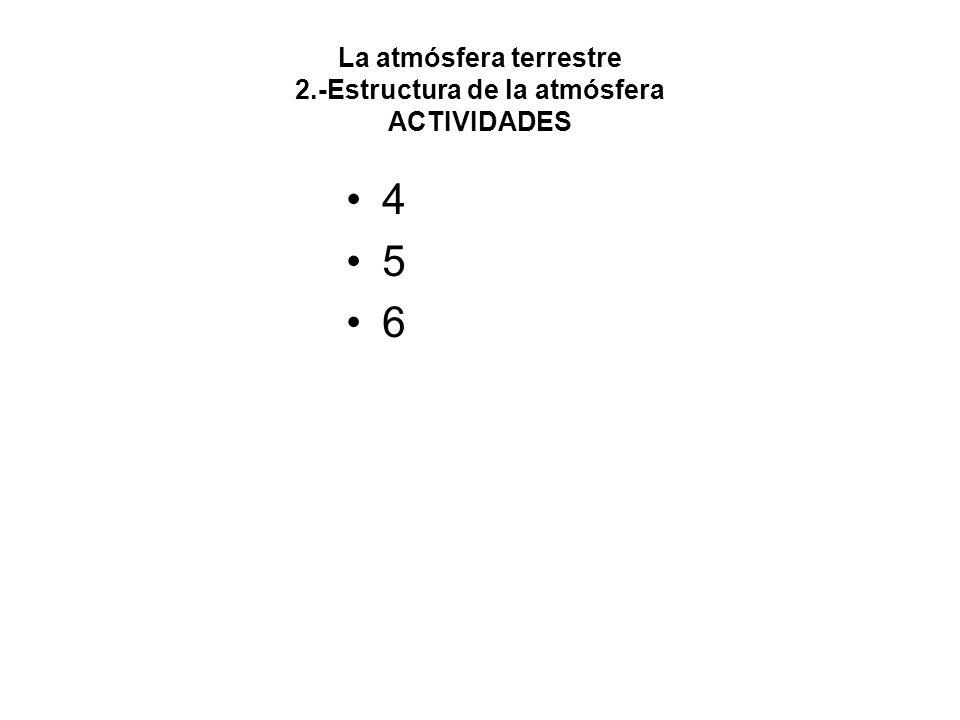 La atmósfera terrestre 2.-Estructura de la atmósfera ACTIVIDADES 4 5 6