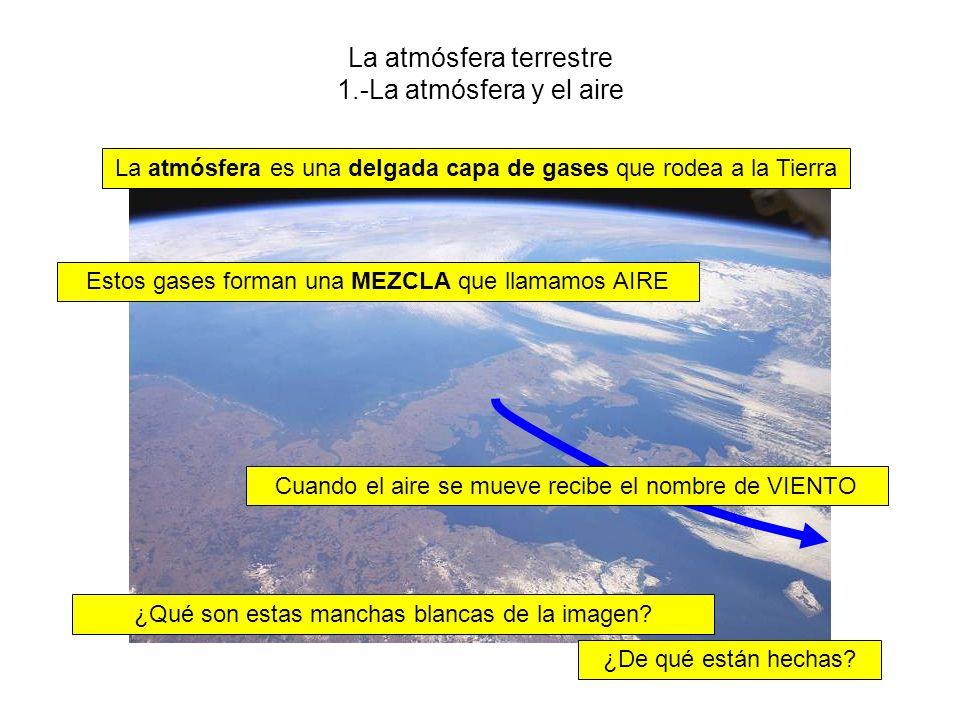 La atmósfera terrestre 1.-La atmósfera y el aire La atmósfera es una delgada capa de gases que rodea a la Tierra Estos gases forman una MEZCLA que llamamos AIRE Cuando el aire se mueve recibe el nombre de VIENTO ¿Qué son estas manchas blancas de la imagen.
