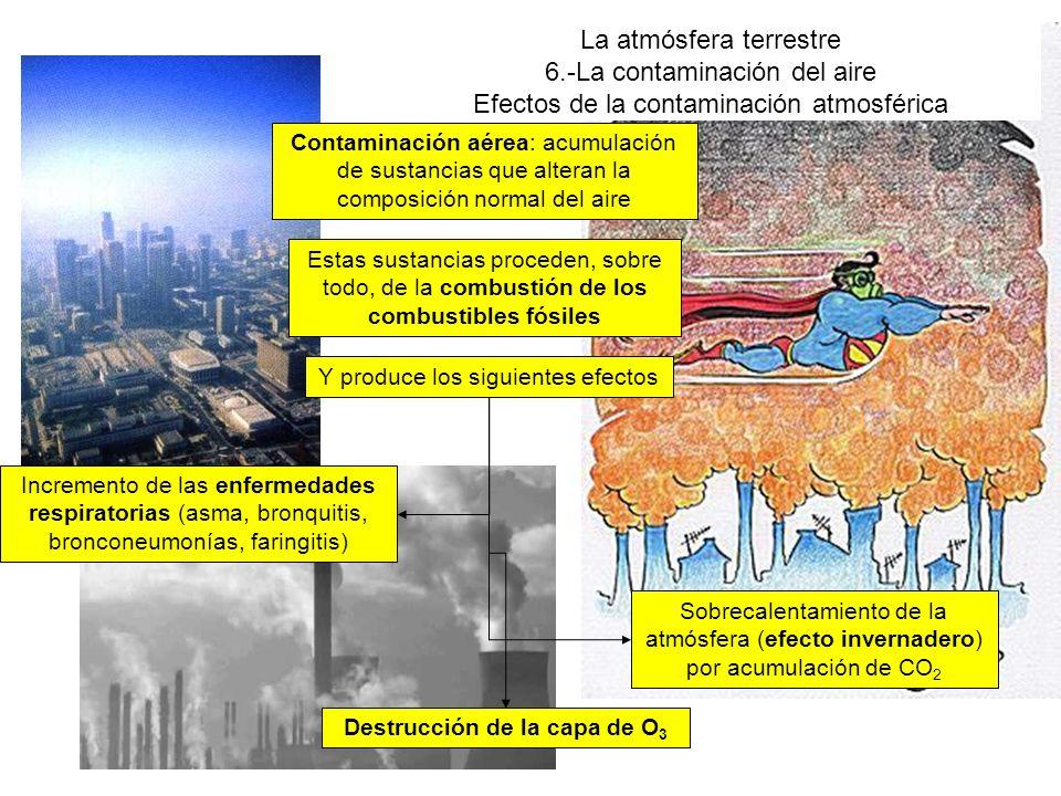 La atmósfera terrestre 6.-La contaminación del aire Efectos de la contaminación atmosférica Contaminación aérea: acumulación de sustancias que alteran la composición normal del aire Estas sustancias proceden, sobre todo, de la combustión de los combustibles fósiles Y produce los siguientes efectos Sobrecalentamiento de la atmósfera (efecto invernadero) por acumulación de CO 2 Destrucción de la capa de O 3 Incremento de las enfermedades respiratorias (asma, bronquitis, bronconeumonías, faringitis)