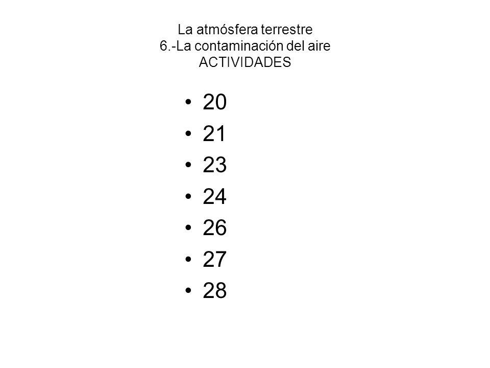 La atmósfera terrestre 6.-La contaminación del aire ACTIVIDADES 29 30 31 34 35 36 40
