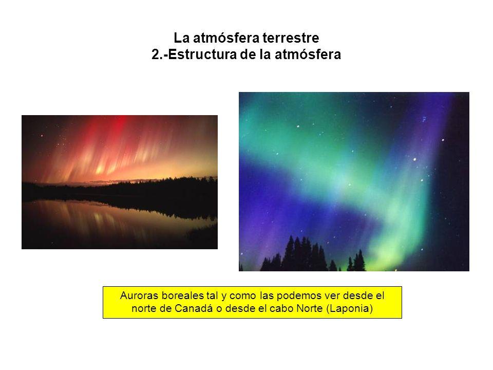 La atmósfera terrestre 2.-Estructura de la atmósfera Auroras boreales tal y como las podemos ver desde el norte de Canadá o desde el cabo Norte (Laponia)
