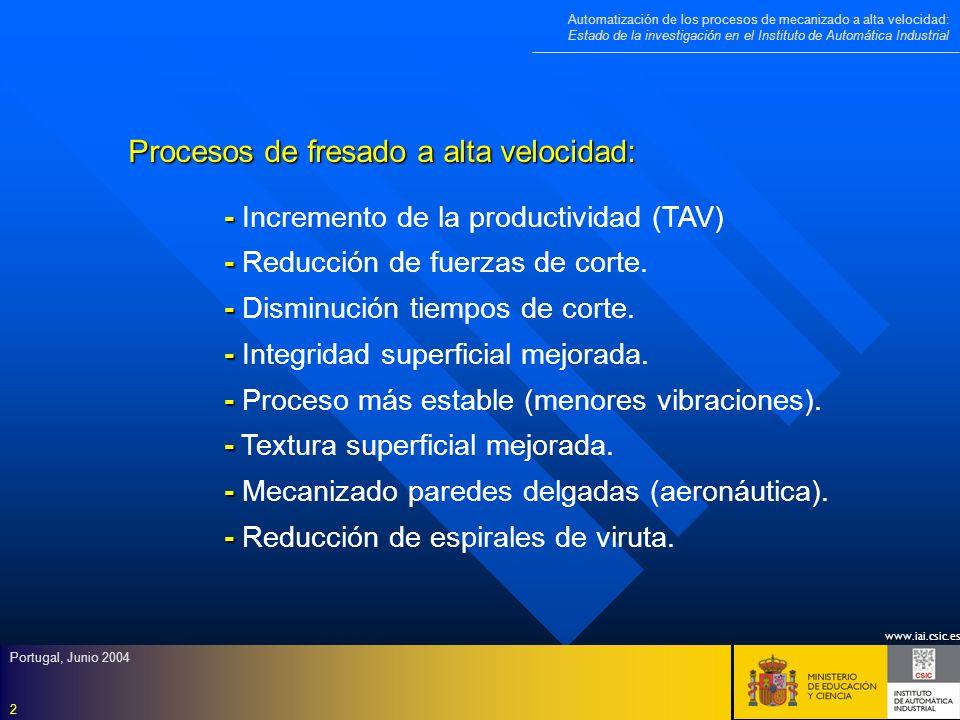 www.iai.csic.es Automatización de los procesos de mecanizado a alta velocidad: Estado de la investigación en el Instituto de Automática Industrial Portugal, Junio 2004 23