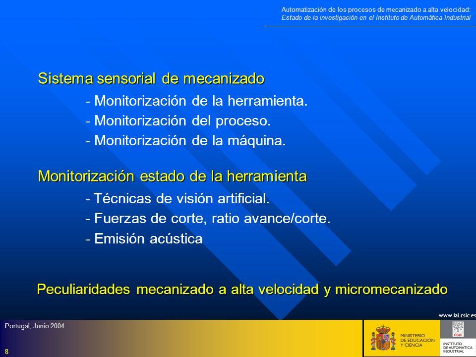 www.iai.csic.es Automatización de los procesos de mecanizado a alta velocidad: Estado de la investigación en el Instituto de Automática Industrial Portugal, Junio 2004 9 Monitorización del proceso de mecanizado - Detección de chatter regenerativo.