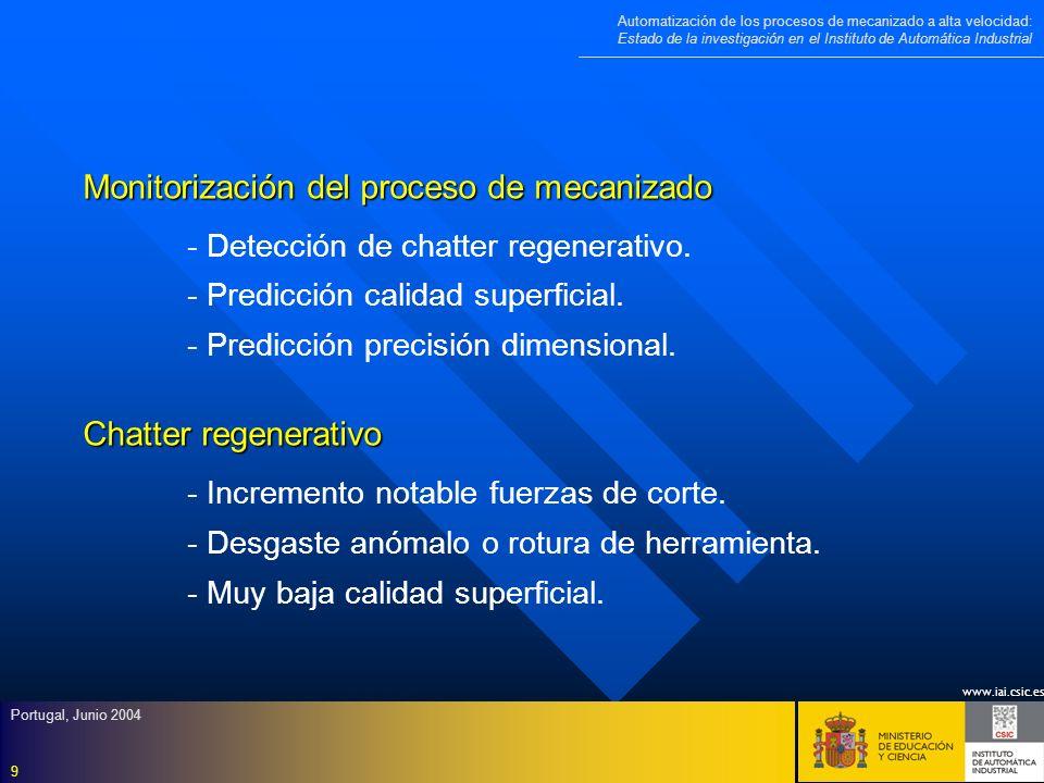 www.iai.csic.es Automatización de los procesos de mecanizado a alta velocidad: Estado de la investigación en el Instituto de Automática Industrial Portugal, Junio 2004 10 Detección chatter regenerativo - - Densidad espectral de alguna señal característica del proceso.