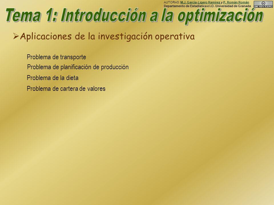 Aplicaciones de la investigación operativa Problema de transporte Problema de planificación de producción Problema de la dieta Problema de cartera de valores AUTORAS: M.J.